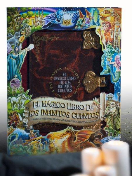 Envoltorio muy bonito en relieve de la caja donde se guarda el mágico libro de los infinitos cuentos.