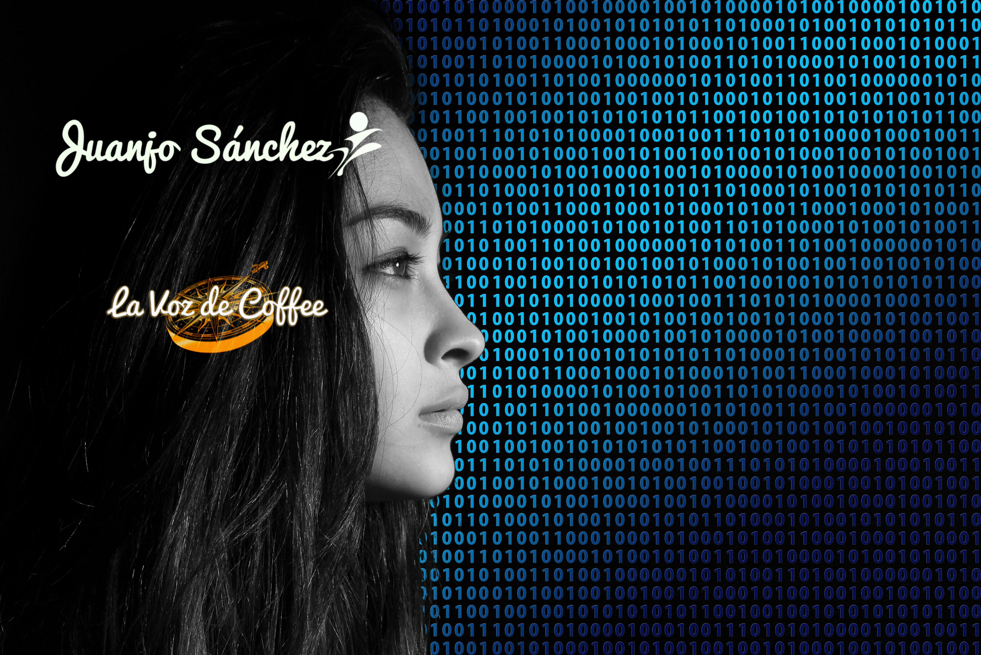 sistema imagen de mujer mirando a una pantalla de códigos binarios